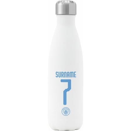 Personalised Manchester City FC Back Of Shirt Insulated Water Bottle - White