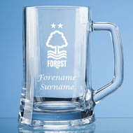 Personalised Nottingham Forest FC Crest Stern Glass Pint Tankard