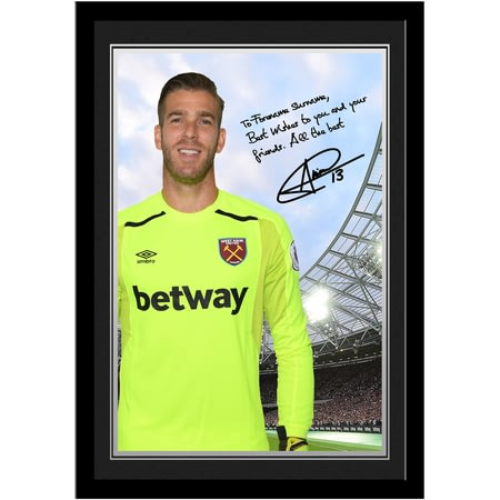 Personalised West Ham United FC Adrian Autograph Photo Framed