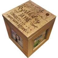 Personalised Birthday Slogan Wooden Photo Cube