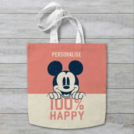 Personalised Disney Mickey Mouse 100% Happy Tote Bag