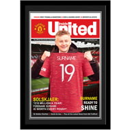 Personalised Manchester United FC Magazine Front Cover Photo Framed