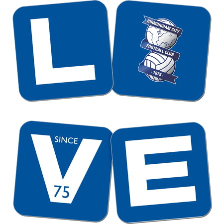 Personalised Birmingham City Love Coasters (x4)