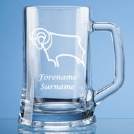 Personalised Derby County Crest Stern Glass Pint Tankard