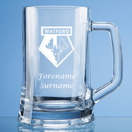 Personalised Watford FC Personalised Crest Stern Glass Pint Tankard