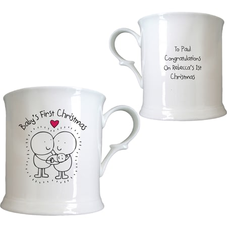 Personalised Chilli & Bubble's Baby's First Christmas Half Pint Tankard