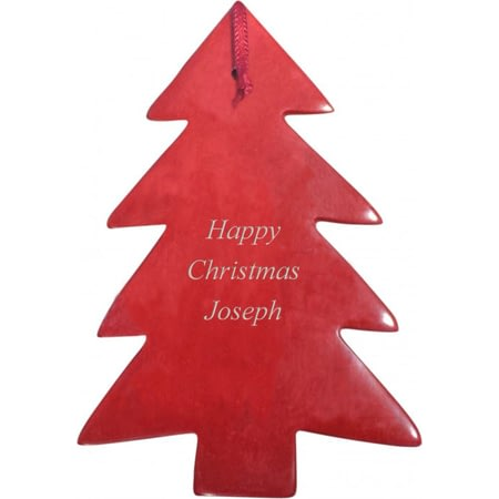 Personalised Red Soap Stone Tree Decoration