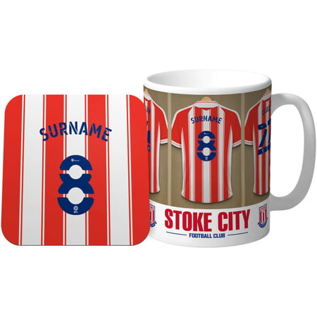 Personalised Stoke City Dressing Room Shirts Mug & Coaster Set