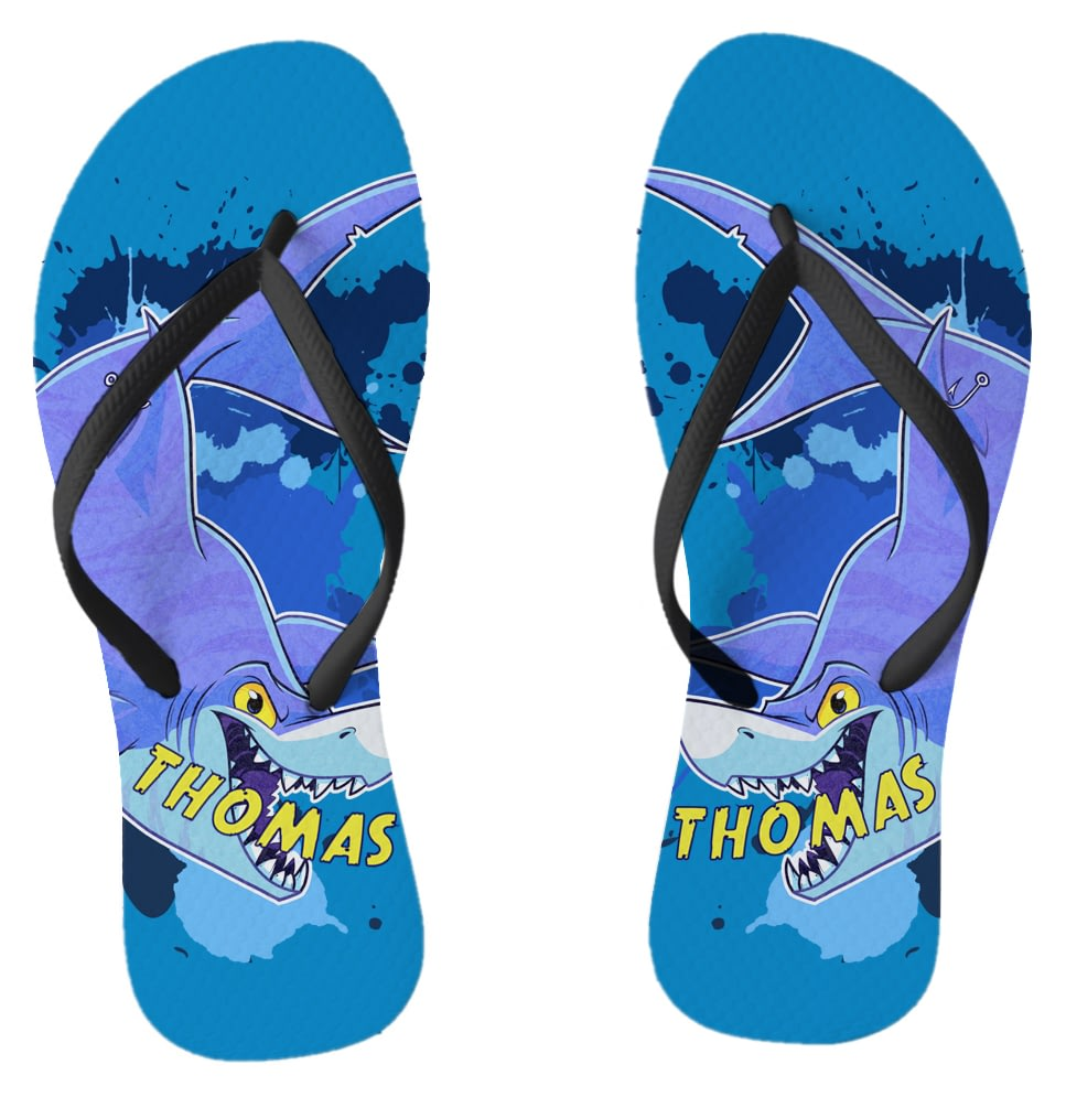 8ff41d15b0bf3 Personalised Underwater Adventure Shark Small Flip Flops from Go Find A Gift
