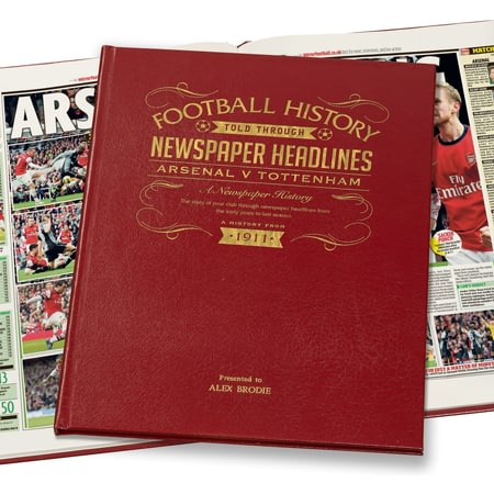 Personalised Arsenal V Spurs Derby Football Newspaper Book Leather