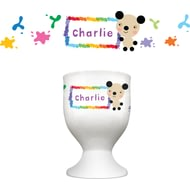 Personalised Arty Mouse Single Character Splash Border Egg Cup