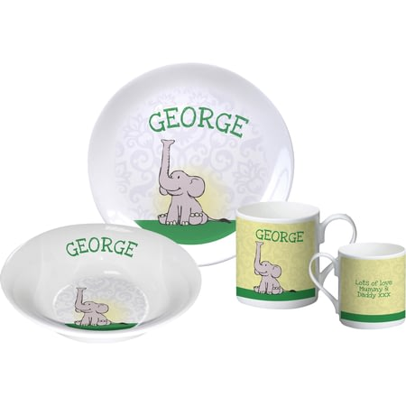 Personalised Baby Boy Elephant Breakfast Set