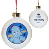 Personalised In The Night Garden Igglepiggle 1st Christmas Ceramic Bauble
