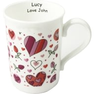 Personalised Hearts & Roses Ceramic Mug