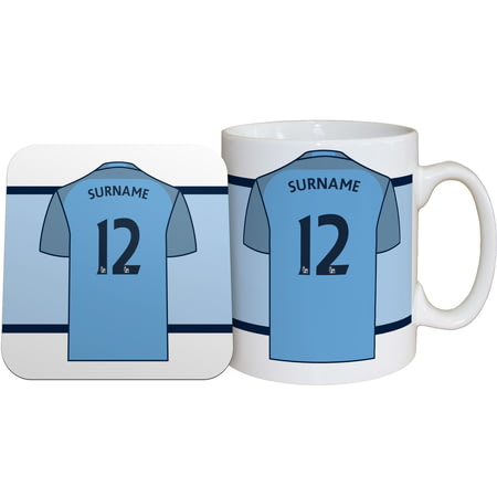 Personalised Manchester City FC Shirt Mug & Coaster Set