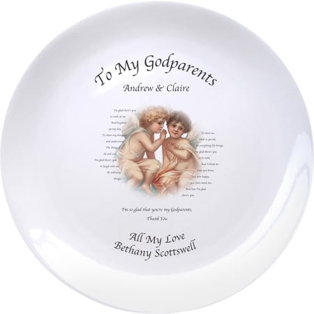 "Personalised Cherubs God Parent 8"" Bone China Coupe Plate"