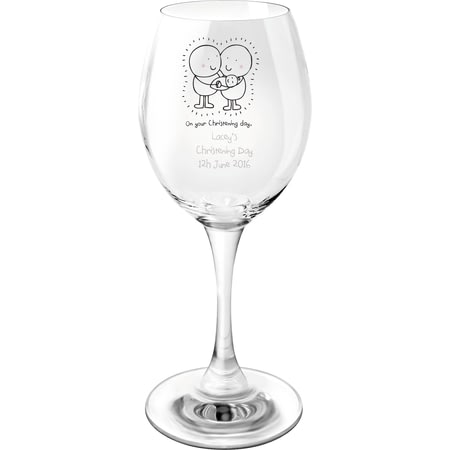Personalised Chilli & Bubbles Christening Wine Glass