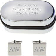 Personalised Engraved Square Cufflinks in Gift Box