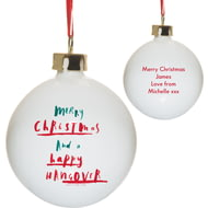 Personalised HotchPotch Happy Hangover Ceramic Bauble