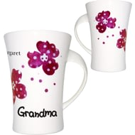 Personalised Pink Pansies Grandma Twist Handle Ceramic Mug