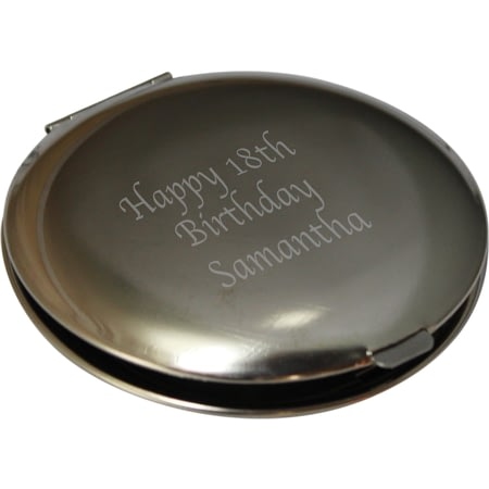Personalised Silver Plated Round Compact Mirror