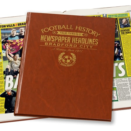Personalised Bradford Football Newspaper Book - Leatherette Cover