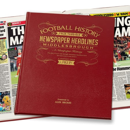 Personalised Middlesbrough Football Newspaper Book - Leather Cover