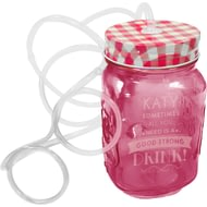 Personalised Pink Mason Jar With Straw Glasses