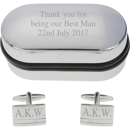 Personalised Engraved Mother of Pearl Cufflinks in Gift Box