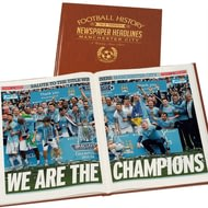 Personalised Manchester City Newspaper Headlines Book - Leatherette Cover