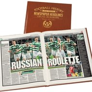 Personalised Celtic Europe Football Newspaper Book - Leatherette Cover