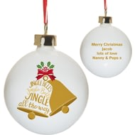 Personalised Jingle Bells Ceramic Christmas Tree Bauble