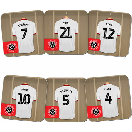 Personalised Sheffield United FC Dressing Room Shirts Coasters Set of 6