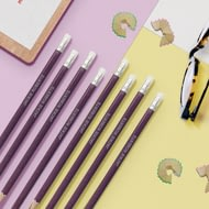Personalised 12 Purple Glitter Lead Pencils In A Purple Box