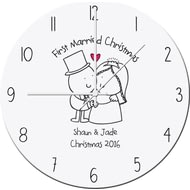 Personalised Chilli And Bubbles Married Christmas Clock