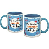 Personalised World's Best Teacher Blue Ceramic Mug