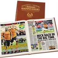 Personalised Wolves Football Newspaper Book - Leatherette Cover