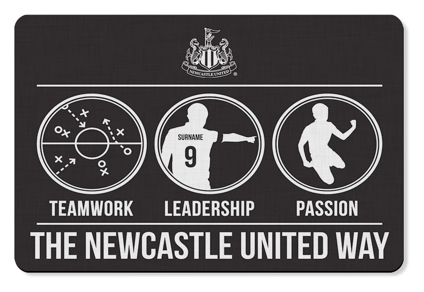 60x90cm Personalised Newcastle United FC Patterned Rubber Backed Large Floor Mat