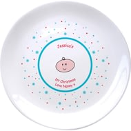 "Personalised Baby's Cartoon 1st Christmas 8"" Coupe Ceramic Plate"