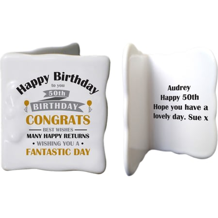 Personalised Birthday Celebration Ceramic Message Card