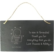 Personalised Chilli And Bubbles Thank You Hanging Slate Sign