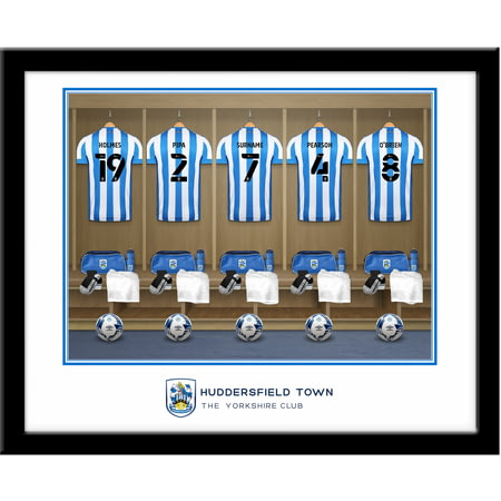Personalised Huddersfield Town AFC Dressing Room Shirts Framed Print