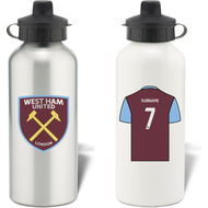 Personalised West Ham United FC Shirt Aluminium Sports Water Bottle