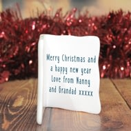 Personalised Wishing You A Merry Christmas Ceramic Message Card