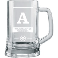 Personalised Wolves Monogram Pint Glass Tankard