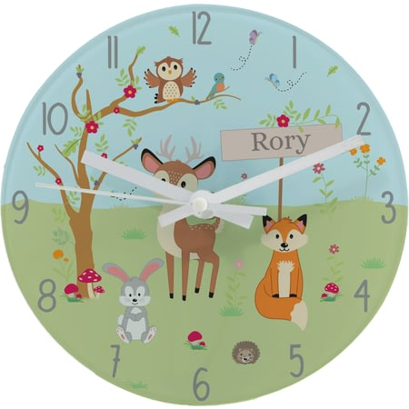 Personalised Woodland Animals Scene Glass Clock