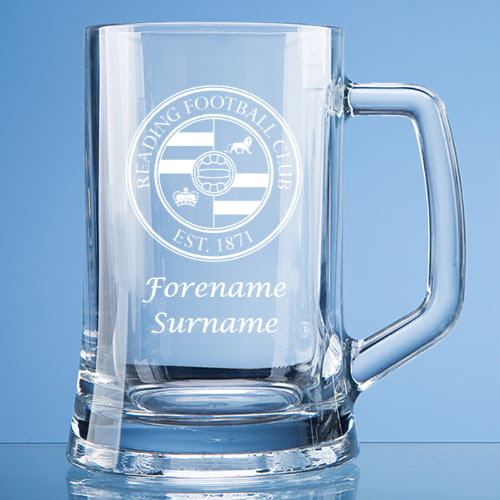Personalised Straight Sided Beer Glass Reading F.C CREST
