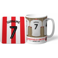 Personalised Sheffield United Dressing Room Shirts Mug & Coaster Set