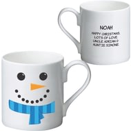 Personalised Snowman With Scarf Ceramic Mug