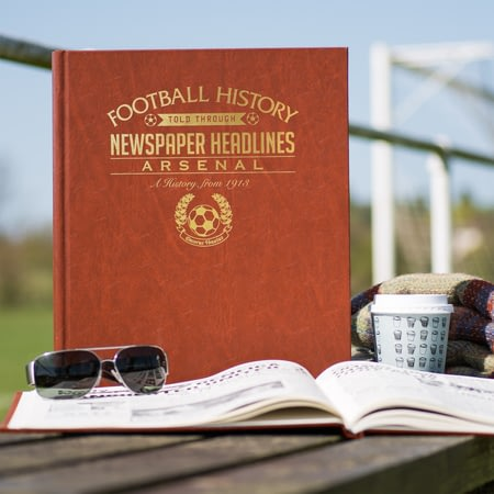 Personalised Arsenal Football Newspaper Book - Leatherette Cover